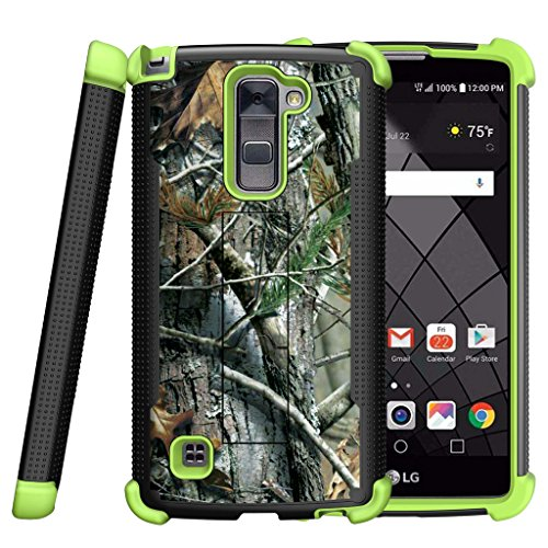 MINITURTLE Case Compatible w/ LG Stylus 2 Plus Case, LG Stylo 2 Plus Cover [Shockwave Armor] Green Silicone Slim Fitted Heavy Duty Stand Defender Case Hunters Tree Camouflage by MINITURTLE