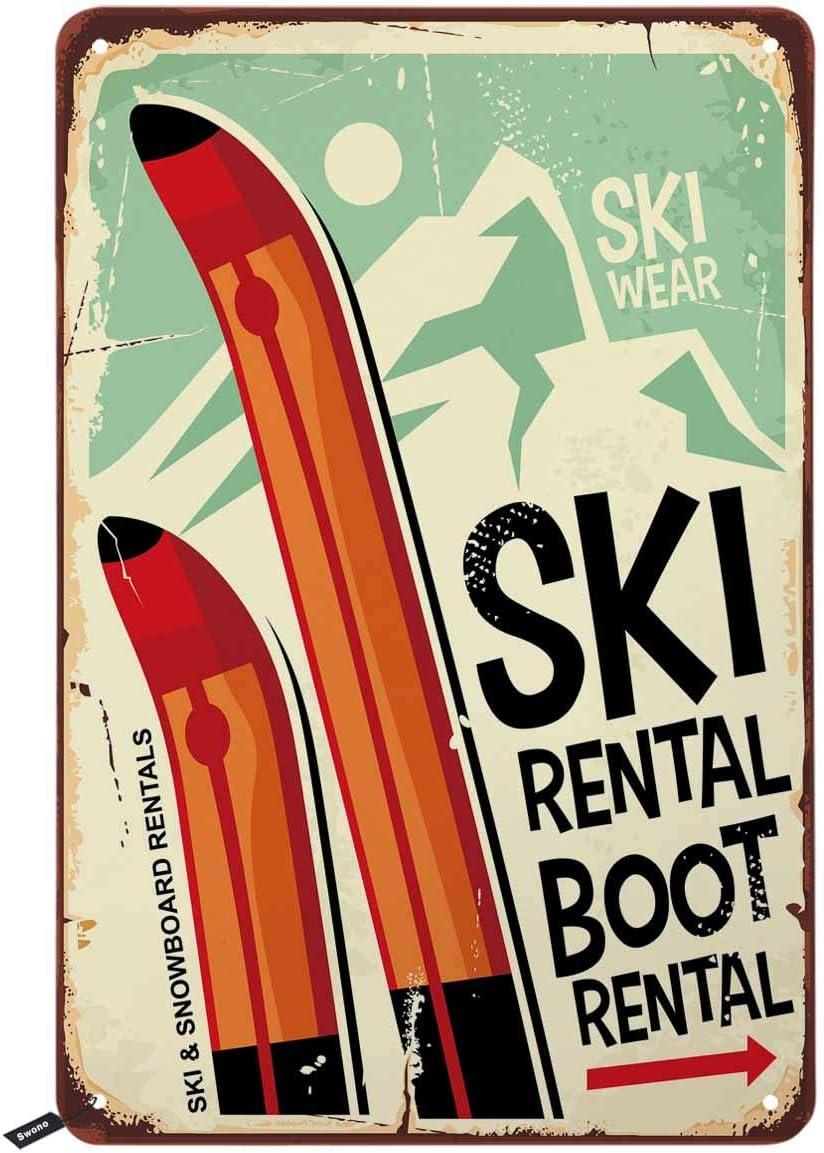 Swono Ski Rental Tin Signs,Ski Wear Boot Rental Vintage Metal Tin Sign for Men Women,Wall Decor for Bars,Restaurants,Cafes Pubs,12x8 Inch