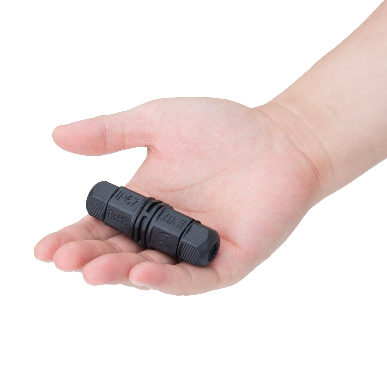 2-pack nero Scatola di Giunzione T-shape Meersee 3 Poli Connettore Cavi Elettrici Impermeabile IP67 Cavo Connettore Esterno Manicotto Accoppiatore