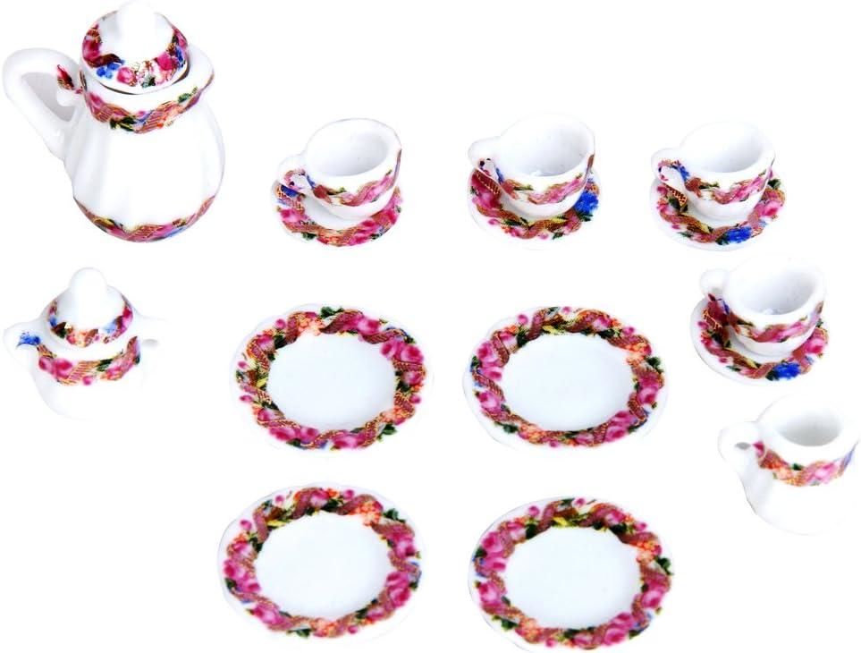 15 juegos de té en miniatura para casa de muñecas de porcelana juego, diseño floral, taza, jarra y plato