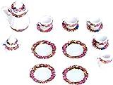 15pcs Doll House Miniature Porcelain Tea Set Dish+Cup+Plate---Colorful Floral Print