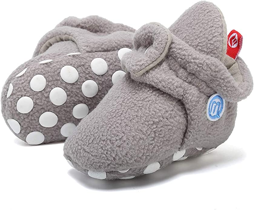 BEBARFER Newborn Baby Boys Girls Booties Stay On Slippers Socks Non-Skid Toddler Infant First Walker Crib Shoes