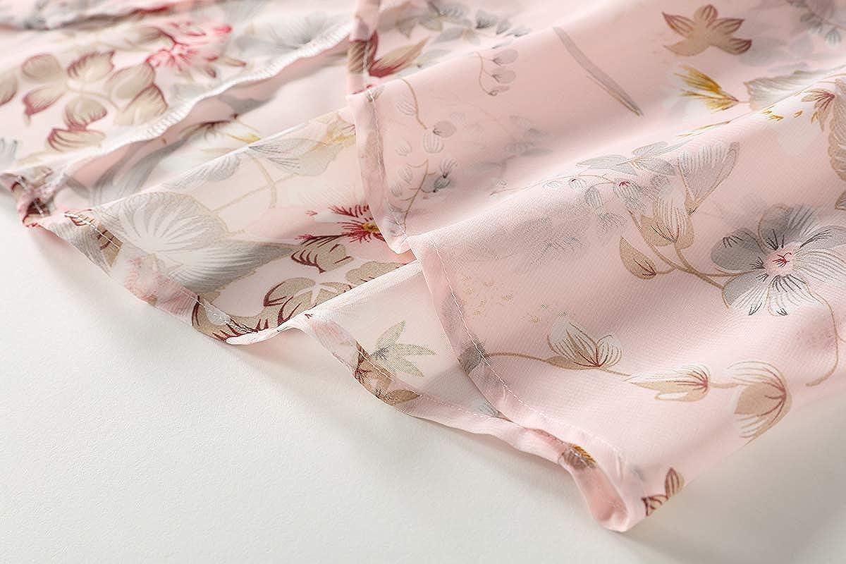 OLRAIN Womens Floral Print Sheer Chiffon Loose Kimono Cardigan Capes