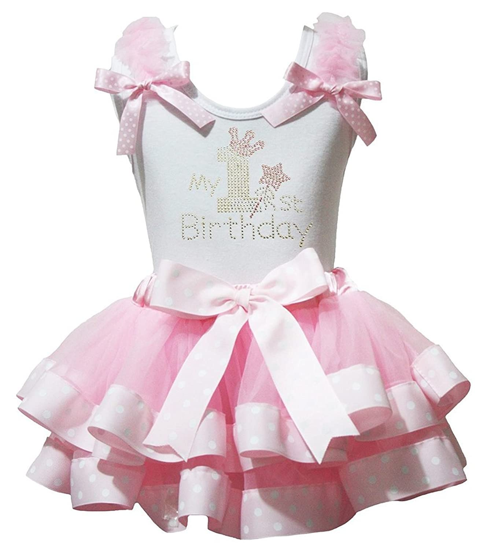 Petitebella 1st Birthday Shirt Heart Dot Check Bling Petal Skirt Set Nb-8y