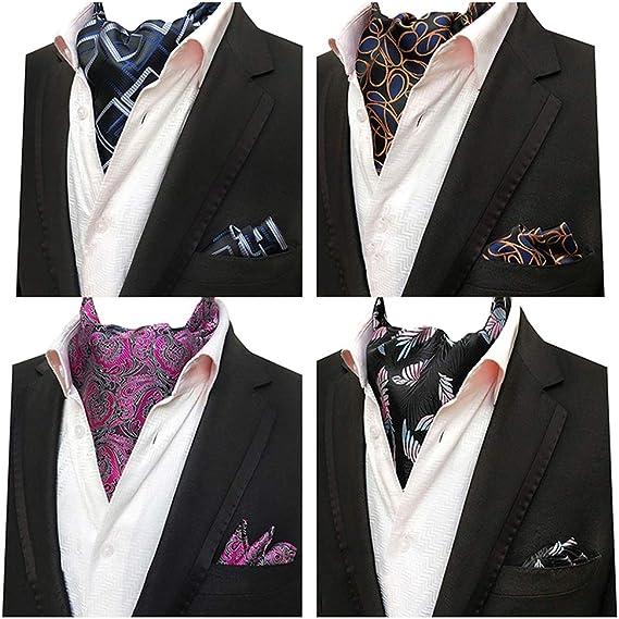 Mens Silk Ascot Cravat Jacquard Paisley Polka Plaids Scarves Hanky Cufflinks Set