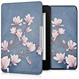 kwmobile Funda para Amazon Kindle Paperwhite - eReader Case de Cuero sintético - con Tapa E-Book Reader Flip Style Diseño Magnolias Marrón Topo Blanco Gris Azulado