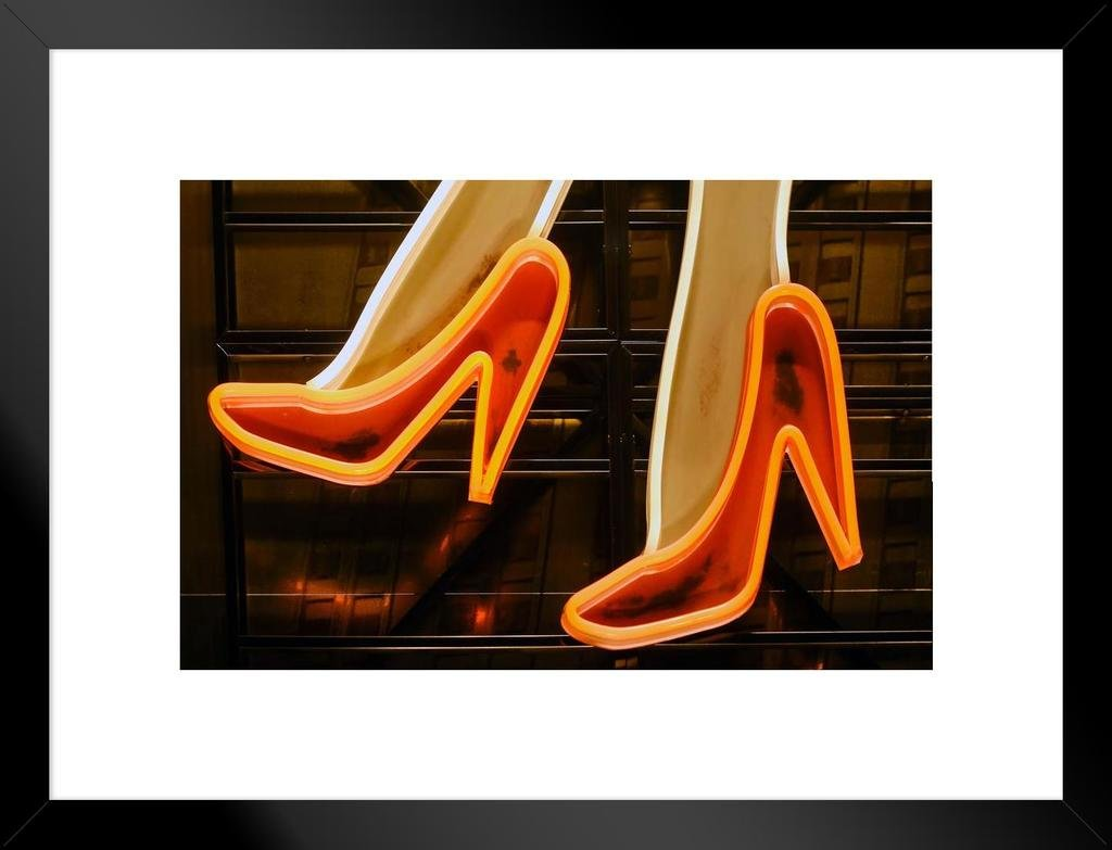 Amazon.com: Poster Foundry Red High Heels Illuminated Vintage Neon Sign  Photo Art Print Matted Framed Wall Art 26x20 inch: Posters & Prints