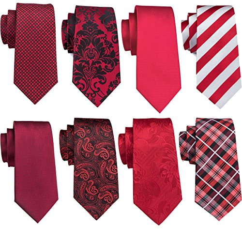 (Barry.Wang Red Neckties Set Paisley Ties Stripe Necktie Check Tie Business Wedding Party)