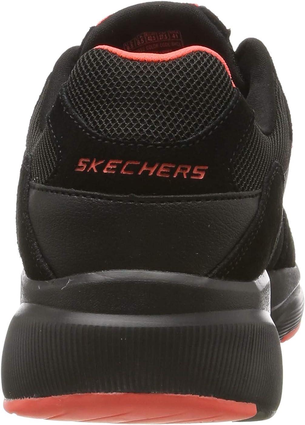 Skechers Meridian-Ostwall, Zapatillas para Hombre Negro Black Suede Mesh Pu Coral Trim Bkcl