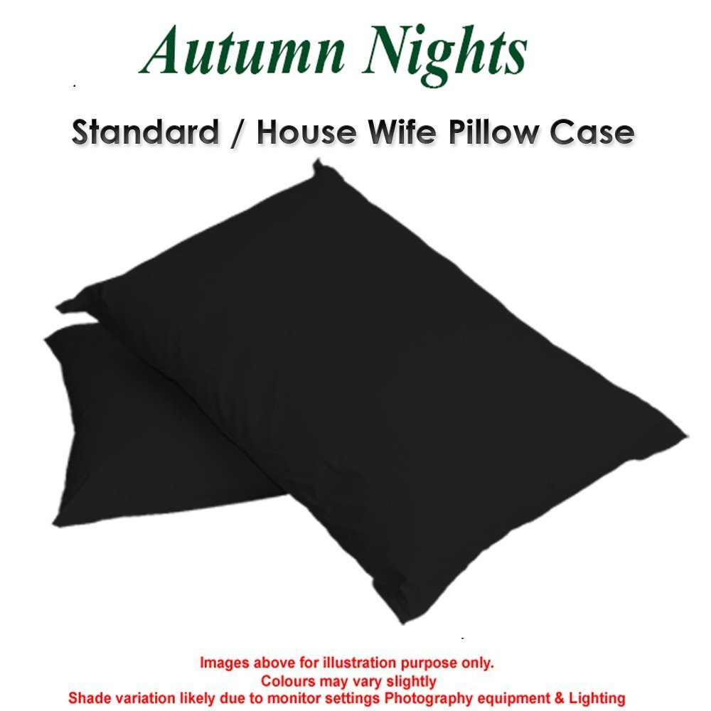 BOLSTER PILLOWCASE 150TC Percale Quality In 6 Sizes and 24 Colours (4 Foot Size, Black) Home linen style