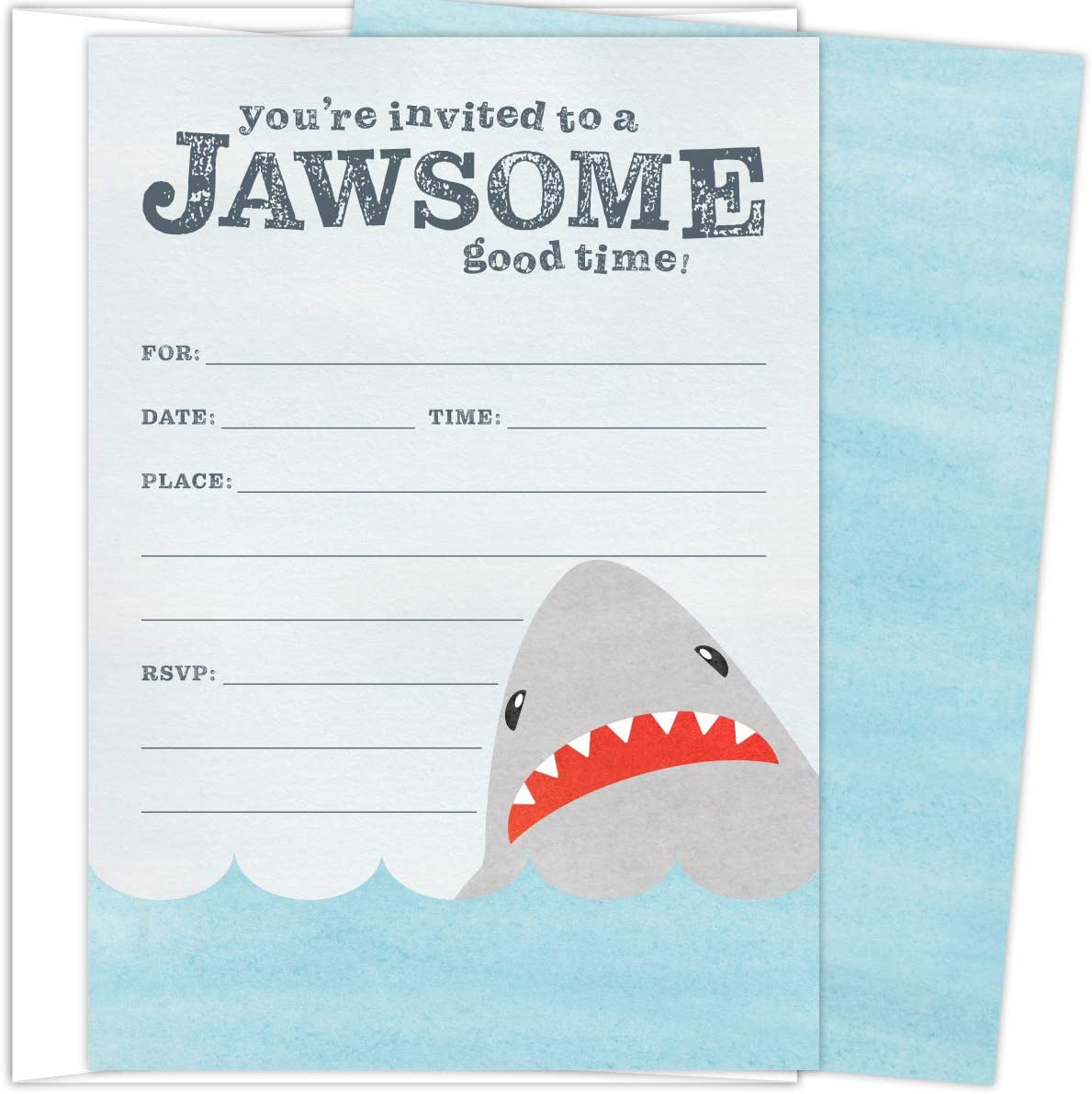 Koko Paper Co Shark Invitations. Set of 25 Fill-In Style Cards and White Envelopes. Perfect for Jawsome Good Times such as Birthdays, Graduations, Baby Showers and Any Occasions.