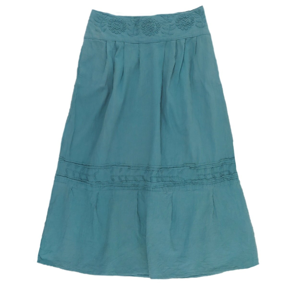 Women's Traditional Amatenango Chiapas Mexican Dark Aqua Skirt - DeluxeAdultCostumes.com