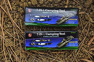 SE KC5006S-2 7-In-1 Multifunctional Camping Tool with Storage Case (2 Pack)
