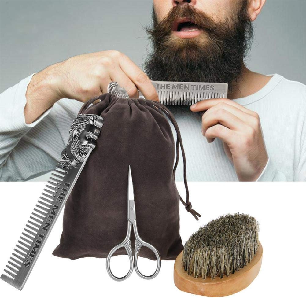 Beard Kit Mens Grooming Kit Mane Stainless Steel Beard Brush Comb Shaving Set Modeling Cleaning Care Kit + Cloth Bag Papa Gifts Brrnoo