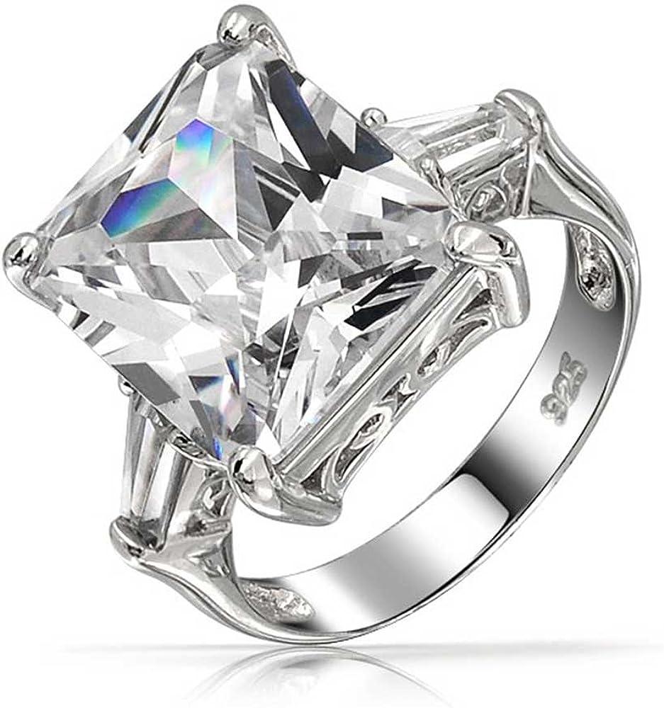 Bling Jewelry Estilo Art Deco 925 7Ct Rectángulo AAA CZ Princess Cut Anillo De Compromiso Declaración Baguette Piedras Laterales