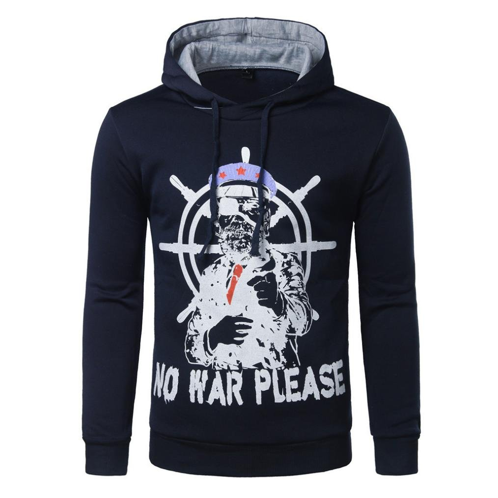 WM & MW Novelty Men's Hoodies Autumn Winter Long Sleeve NO WAR PLEASE Letter Captain Print Hooded Sweatshirt Pullover Jumper Tops (XL=(US:L), Navy)
