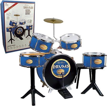 """Conjunto batería compuesto de: bombo, tambores dos sonidos y platillo,Timbal """"tam-tam"""" y caja con pi"""