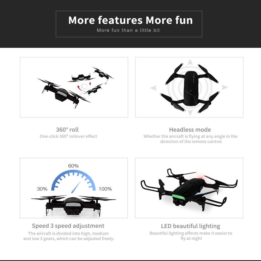 MOZATE LH-X41F 2.4Ghz 4CH Attitude Hold WiFi 720P Optical Flow Dual Camera RC Quadcopter Drone (Black) by MOZATE (Image #8)