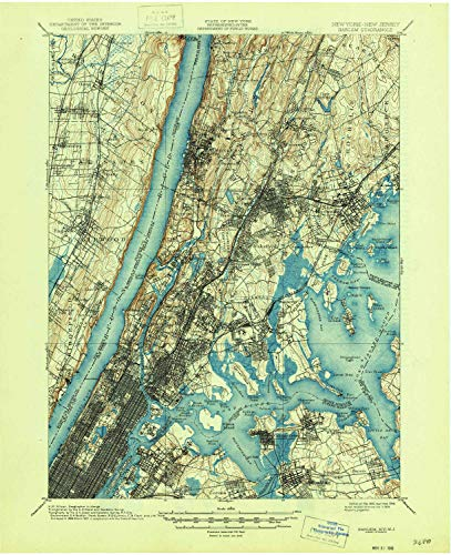 YellowMaps Harlem NY topo map, 1:62500 Scale, 15 X 15 Minute, Historical, 1900, Updated 1946, 20.9 x 17 in - Tyvek