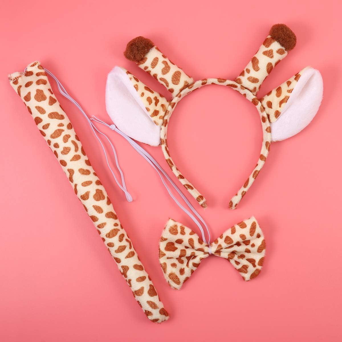 BESTOYARD 3 St/ücke Kind Erwachsene Cartoon Giraffe Ohren Stirnband Schwanz Set f/ür Kost/üm Party Cosplay Zubeh/ör
