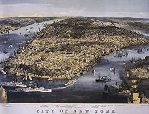 Amazon Com Bird S Eye View City Of New York 1800