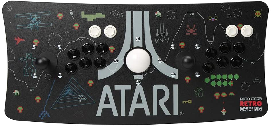 Atari Arcade Fightstick USB Dual Joystick 2 Player Game Controller for PC Mac Raspberry Pi Console Older Xbox PS3 with Trackball