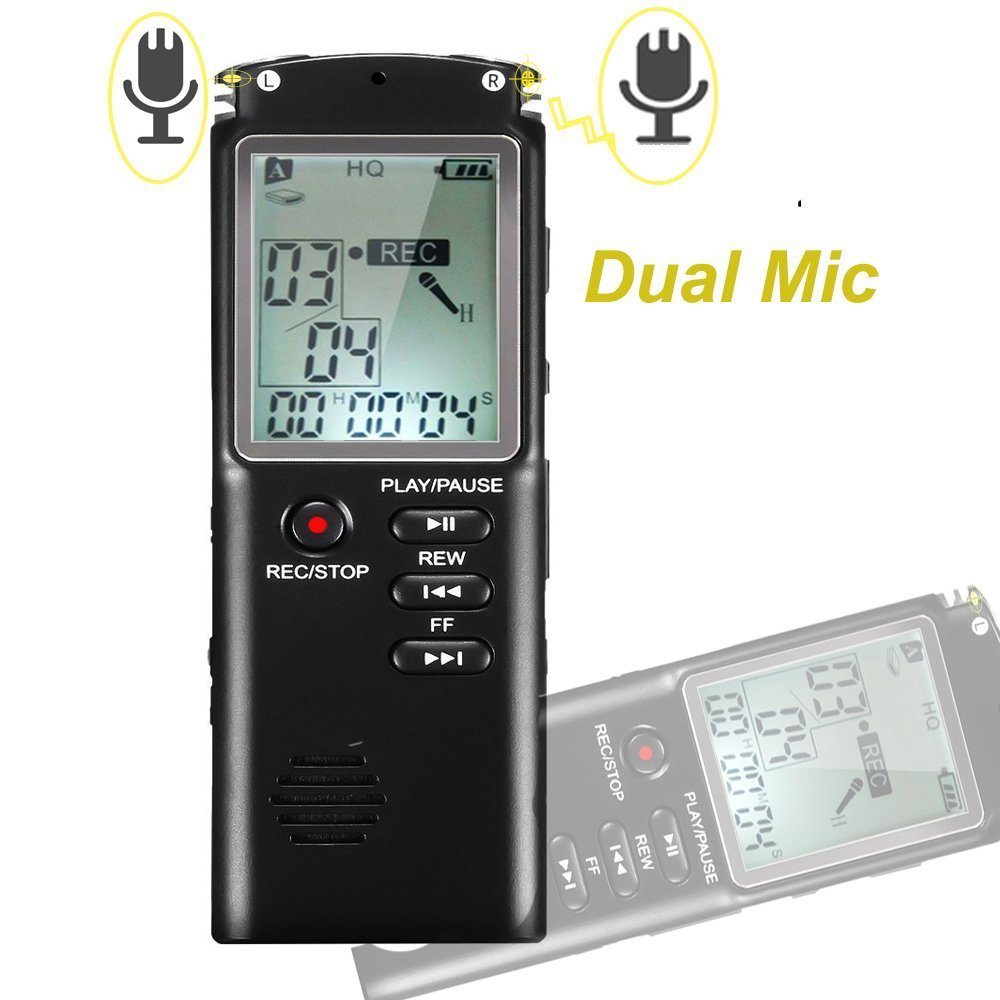 Digital Voice Recorder,Picus Sound Recorder Dictaphone for Lectures,8GB Audio Recorder with USB, Dual Microphone Recording, AGC Noise Reduction, Voice Activated with MP3 Player