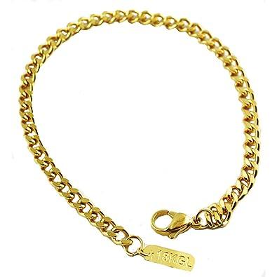 Amazon.com: vpkjewelry Oro 18 K acero inoxidable Enlace Curb ...