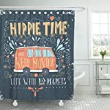 Hot Pink and Brown Shower Curtain VaryHome Shower Curtain Bus Vintage Hippie Time with Mini Van and Lettering Life No Regrets This Retro Waterproof Polyester Fabric 60 x 72 Inches Set with Hooks