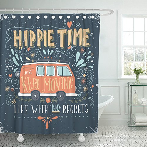 Emvency Shower Curtain Bus Vintage Hippie Time with Mini Van and Lettering Life No Regrets This Retro Waterproof Polyester Fabric 60 x 72 inches Set with Hooks