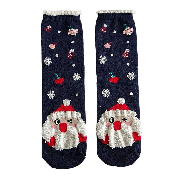 OverDose Ropa Calcetines De AlgodóN Con Estampado NavideñO De Mujer Las Mujeres Venden Mejor Calcetines Multicolores De Invierno Para El Piso (Estilo 1): ...