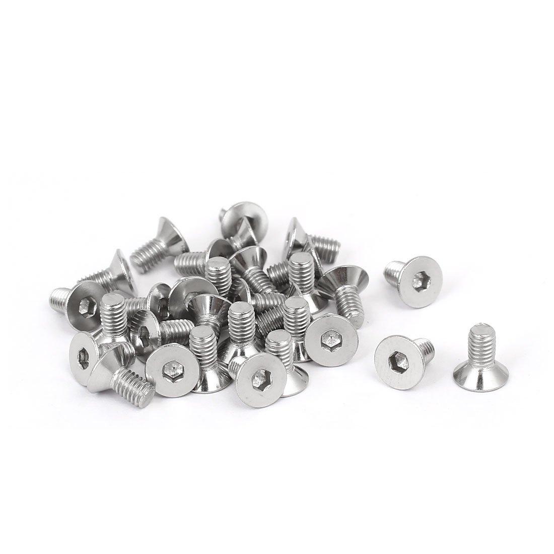 uxcell DIN7991 M3x6mm 316 Stainless Steel Flat Head Hex Socket Cap Screw Bolt 30pcs a16090700ux1213
