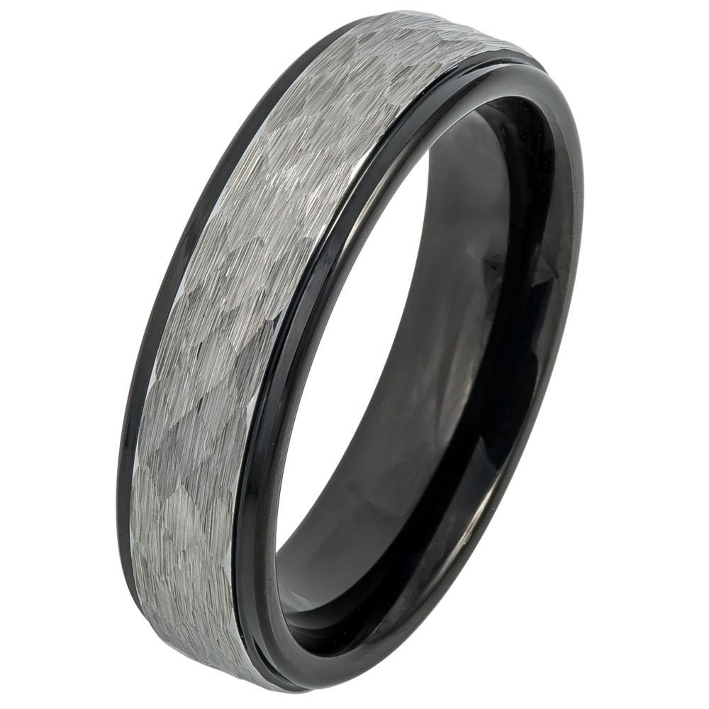 Double Accent 6MM Comfort Fit Tungsten Carbide Wedding Band Hammered Gun Metal Brushed Black Tungsten Ring (5 to 13), 5
