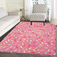Pink and White Area Rug Carpet Abstract Pattern of Colorful Donut Sprinkles Sweet Tasty Food Bakery Theme Living Dining Room Bedroom Hallway Office Carpet 5x6 Multicolor