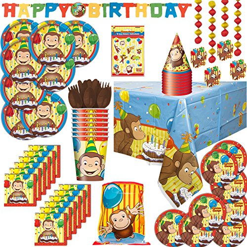 Curious George theme Party Supplies For 8: Plates, Napkins, Table cover, Cups, Hats, Cutlery, Decorations, Banner, Loot Bags, Stickers