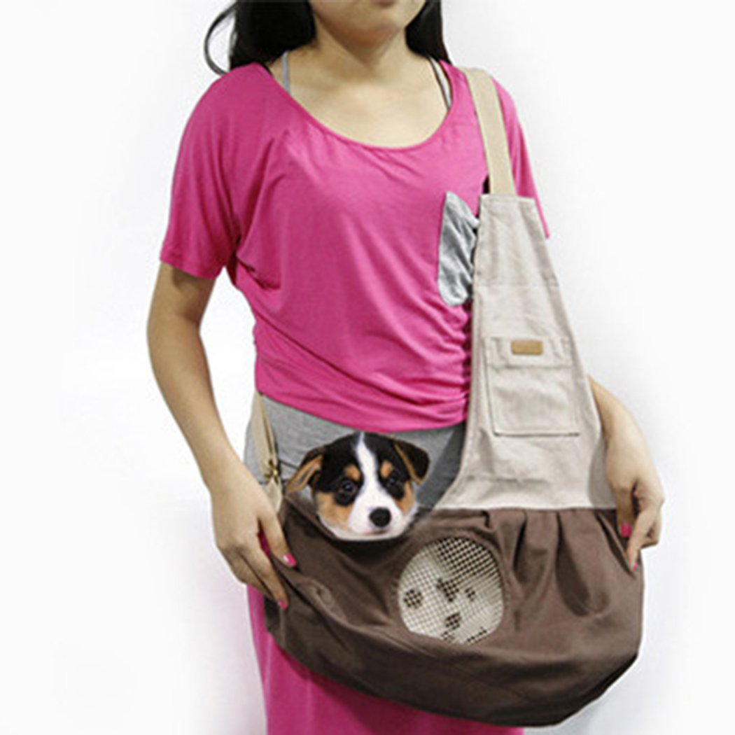 Pet Sling Carrier Dog Sling Bag Singe Shoulder Bag with Air Mesh for Cat Small Animals (Brown)