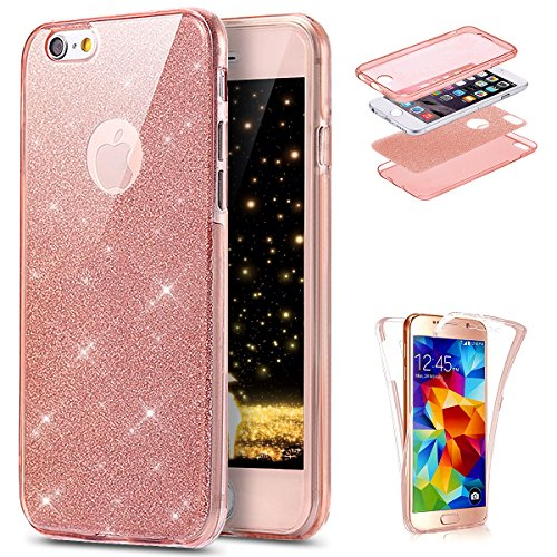 "Price comparison product image iPhone 6 Case, iPhone 6S Case, PHEZEN [Full Body Coverage] Front and Back 360 Degree Protective Case Bling Glitter Sparkly Shockproof Ultra Thin TPU Silicone Gel Case Cover For iPhone 6 6S 4.7"" (Pink)"