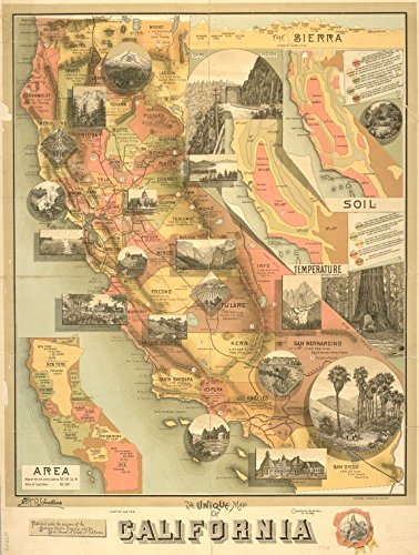 Historic 1890 Map | The unique map of California | California | MapsMaps of North America. | California