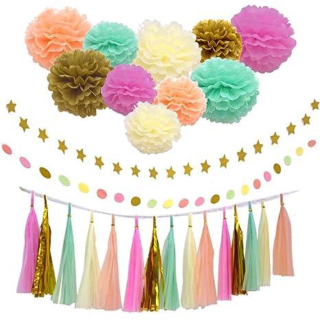 27 pcs Kit de decoración para fiestas, color melocotón crema oro ...