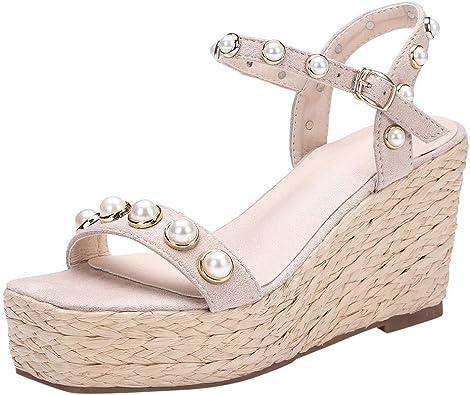 OverDose Sandales Sandales Compensées Femme à Perle Été Chic