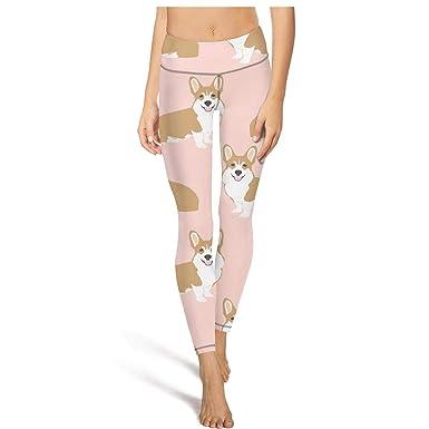 05a1a65d584ea3 Designer Womens high Waisted Yoga Pants Corgi Pink Pastel Dog Training Pants