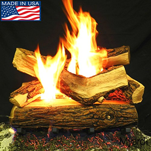 PayandPack Myard 18″ inches Country SPLIT Fire Gas Logs (LOGS ONLY) for Natural Gas/Liquid Propane Vented Fireplace