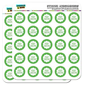 Merry Christmas Green Polka Dots 2.5cm (1 inch) Scrapbooking Crafting Stickers