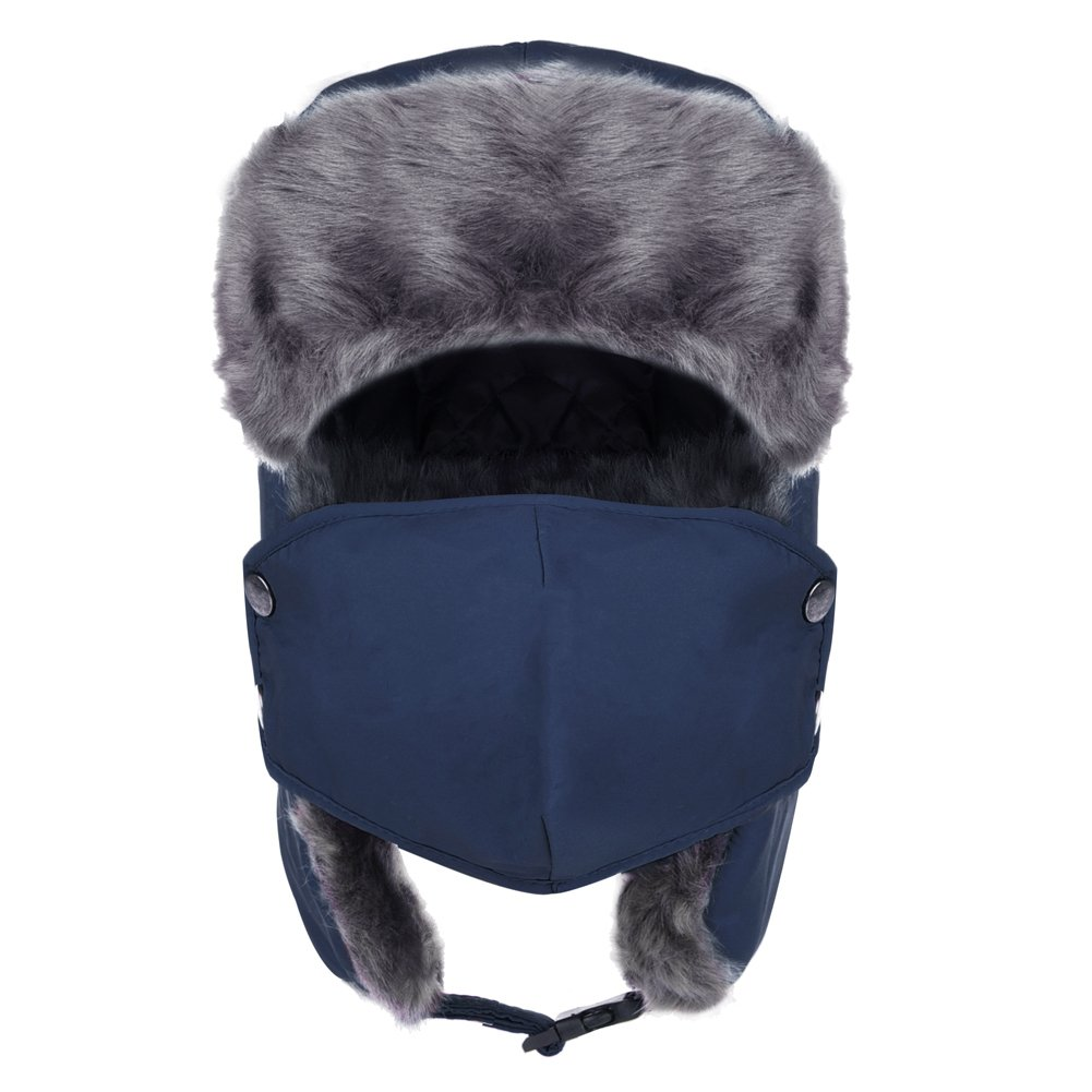 Vbiger Trapper Hat with Ear Flaps Nylon Windproof Winter Warm Hunting Hats for Men & Women (Navy Blue) by VBIGER (Image #1)