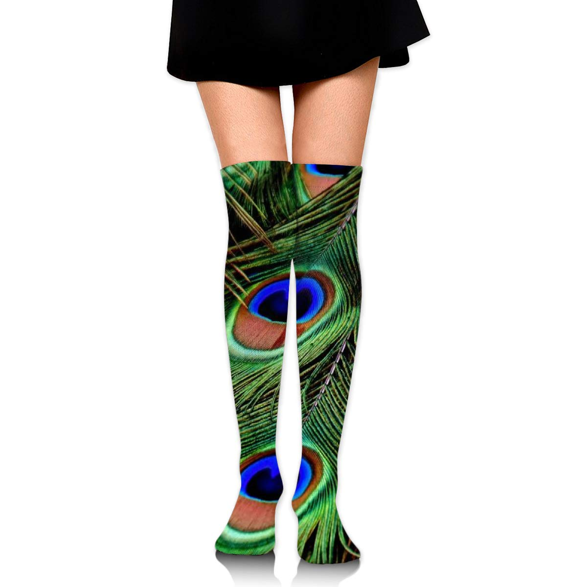 Kjaoi Girl Skirt Socks Uniform Peacock Feather Eyes Women Tube Socks Compression Socks