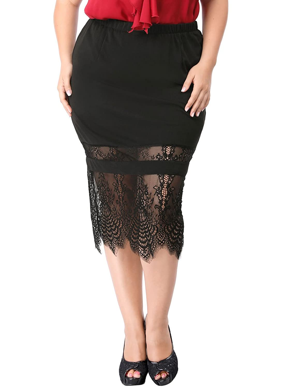 Agnes Orinda Women's Plus Size Lace Panel Elastic Waist Slim Fit Skirt