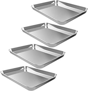 4PCS Baking Sheets, CEKEE Stainless Steel Nonstick Bakeware Set Cookie Pan Toaster Oven Tray for Housewarming, Wedding, Chefs Bakers Kitchen Gift(9 Inch)