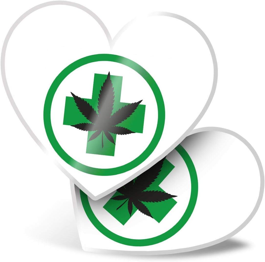 Impresionante 2 pegatinas de corazón de 7,5 cm – cartel de marihuana con marihuana para portátiles, tabletas, equipaje, libros de chatarra, frigorífico, regalo genial #5721