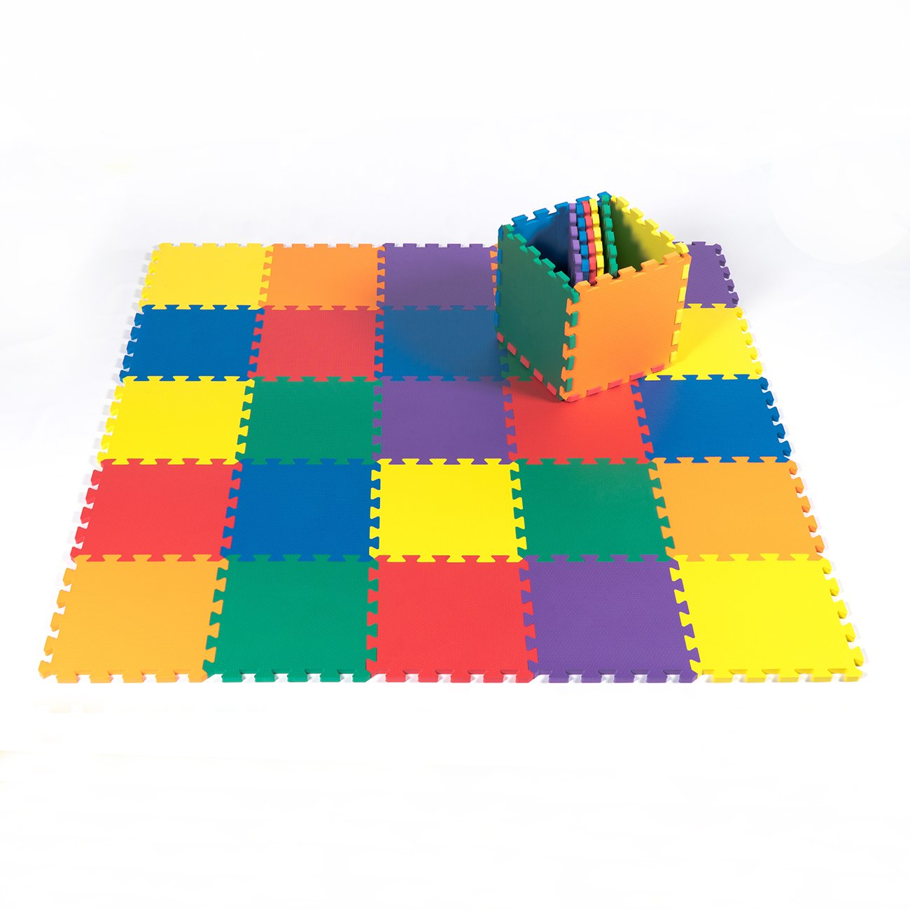Kidzone 12''x12'' 36 Piece Kids Baby Play Mat Foam Puzzle Play Mat EVA Non-Toxic, 6 Colors 1/2'' Thick