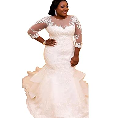 Chady Elegant Plus Size Mermaid Wedding Dress For Bride 2017 Lace Beading 3 4 Sleeve Gowns At Amazon Womens Clothing Store